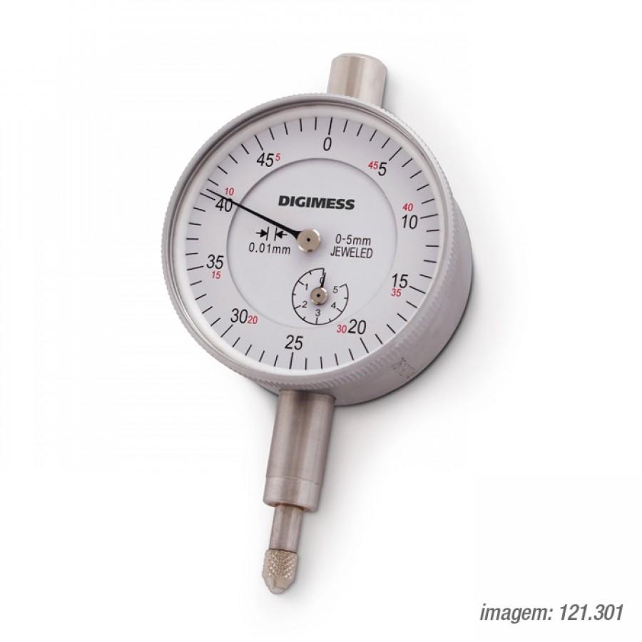 Relógio Comparador Digimess 0-5mm res. 0,01mm cód. 121.301 c/ Certificado RBC