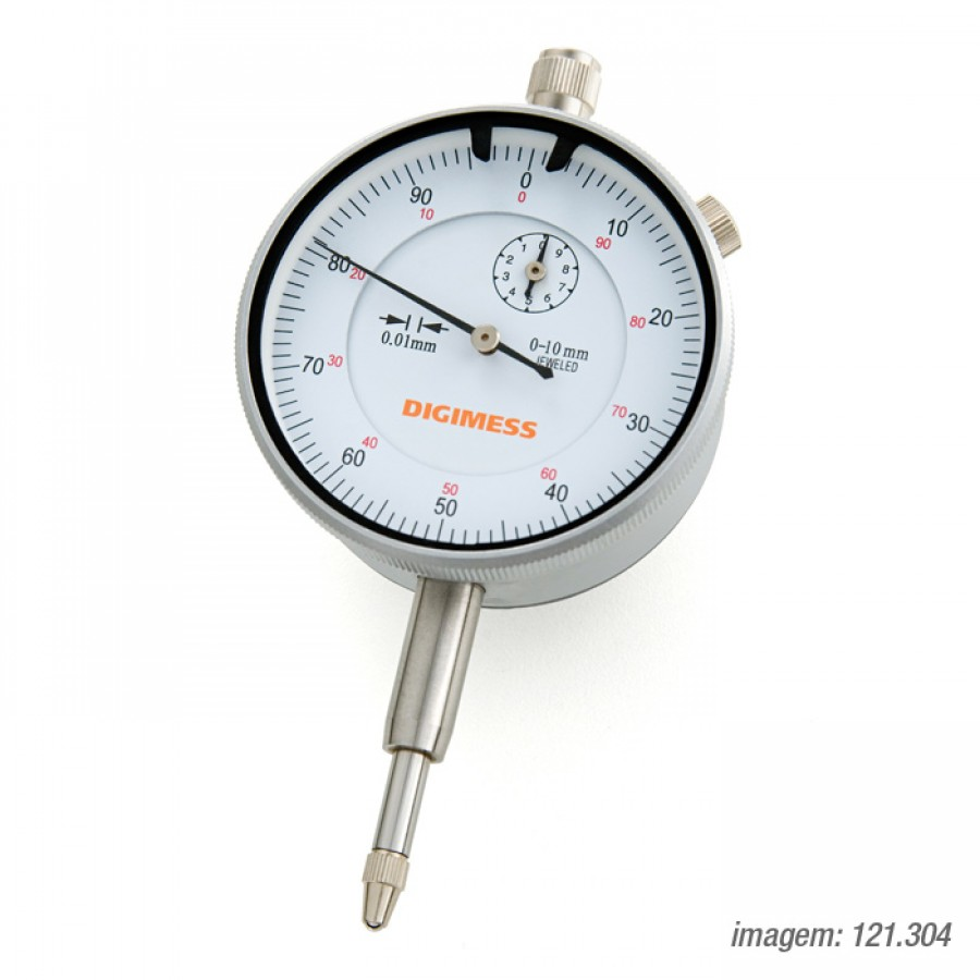 Relógio Comparador Digimess 0-10mm res. 0,01mm cód. 121.304 c/ Certificado RBC
