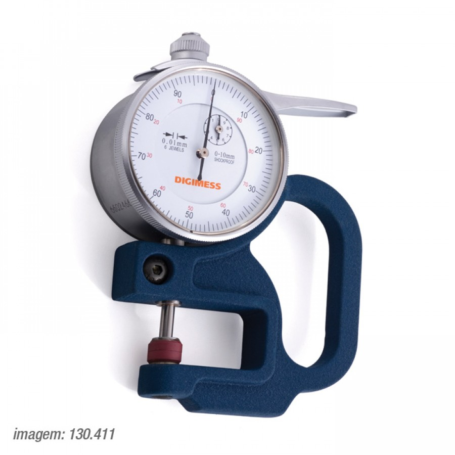 Medidor de espessura Digimess 0-10mm res.0,01mm arco 10mm cód. 130.411 c/ Certificado RBC