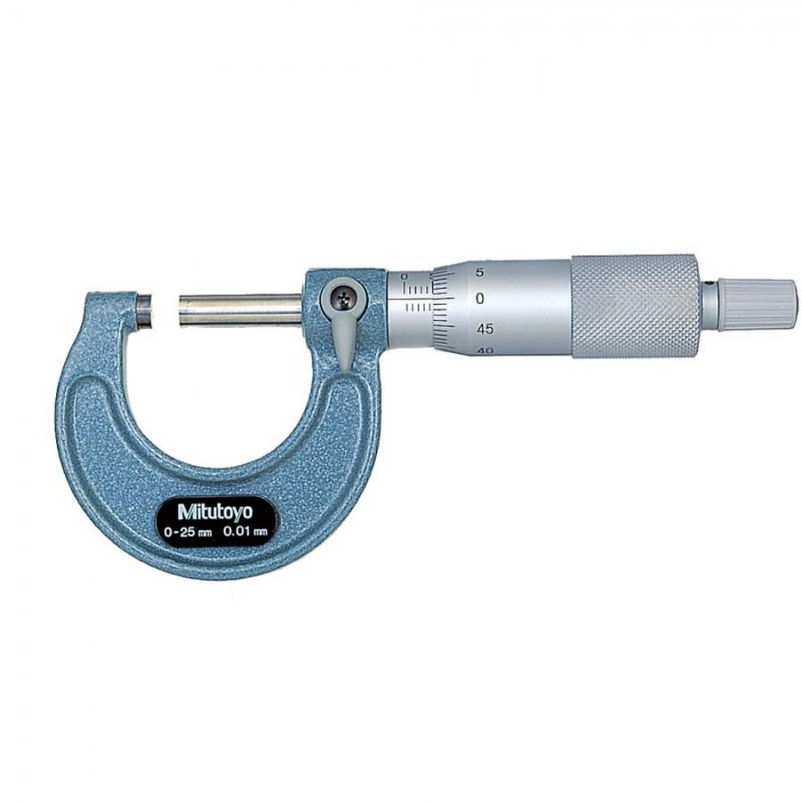 Micrômetro Mitutoyo 0-25mm, 0,01mm C/ Certificado de Calibração RBC.